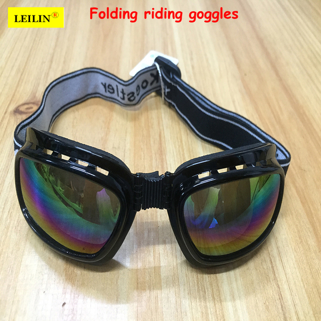 cf1a5fc489ec LEILIN Foldable protective goggles Sponge frame Comfortable cycling glasses  Anti-UV Anti-shock work