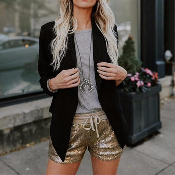Fashion Pants Women 2018 Casual Fashion Sequins Short Women's Mid Waist Sexy Pocket Hot Pant Gold Jan25G1J.30