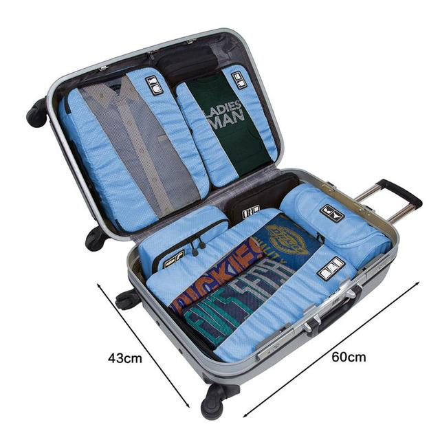 ECOSUSI Breathable Travel Bag 4 Set Packing Cubes Luggage Packing Organizers with Shoe Bag Fit 23″ Carry on Suitcase