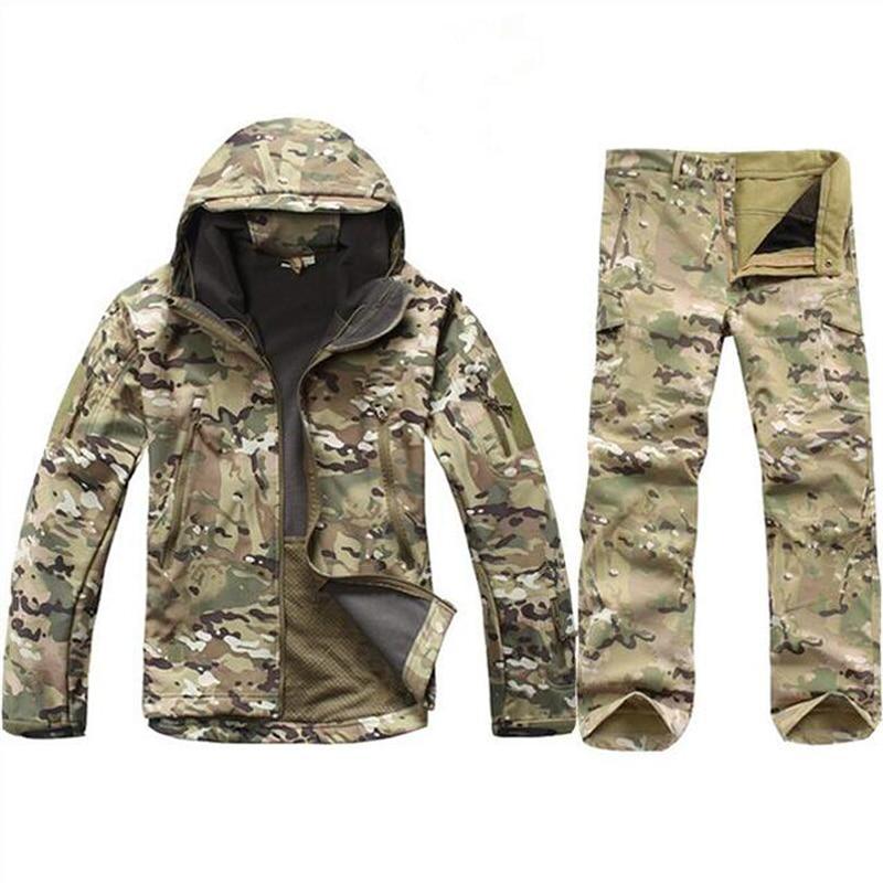 Winter Tactical Softshell Camouflage Jacket Set Men Army Windbreaker Waterproof Clothing Suit Army Military Jacket Fleece Coats