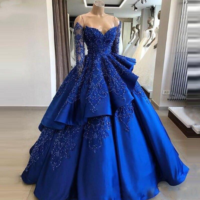 Robe de bal à manches longues bleu Royal robes de bal de luxe perles chérie Chic longue robe de soirée Occasion spéciale robes de soirée