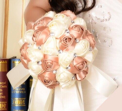 2017 Дешевые Свадебные/Невесты Букет Невесты Цвета Слоновой Кости и Шампанского Роза Ручной Работы Искусственный Цветок Букеты де mariage рамо де ла бода