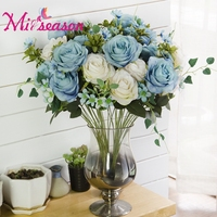 Miiseason Artificial 1 Bunch 11 Heads Liff Rose Flowers Bouquet Fake Floral Arrange Table Peony Wedding