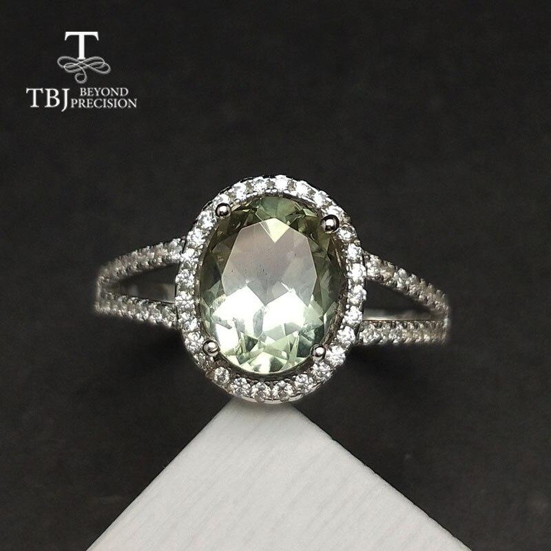 TBJ, классический Натуральный Зеленый Аметист кварты драгоценный камень кольцо в 925 Серебро Простой Блестящий ювелирные изделия для женщин о...