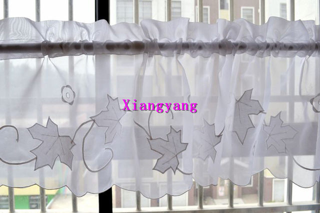 white leaf embroidery finished kitchen curtain swag set short kitchen curtain cortinas cocina moderna cortinas - Cortinas Cocina Moderna
