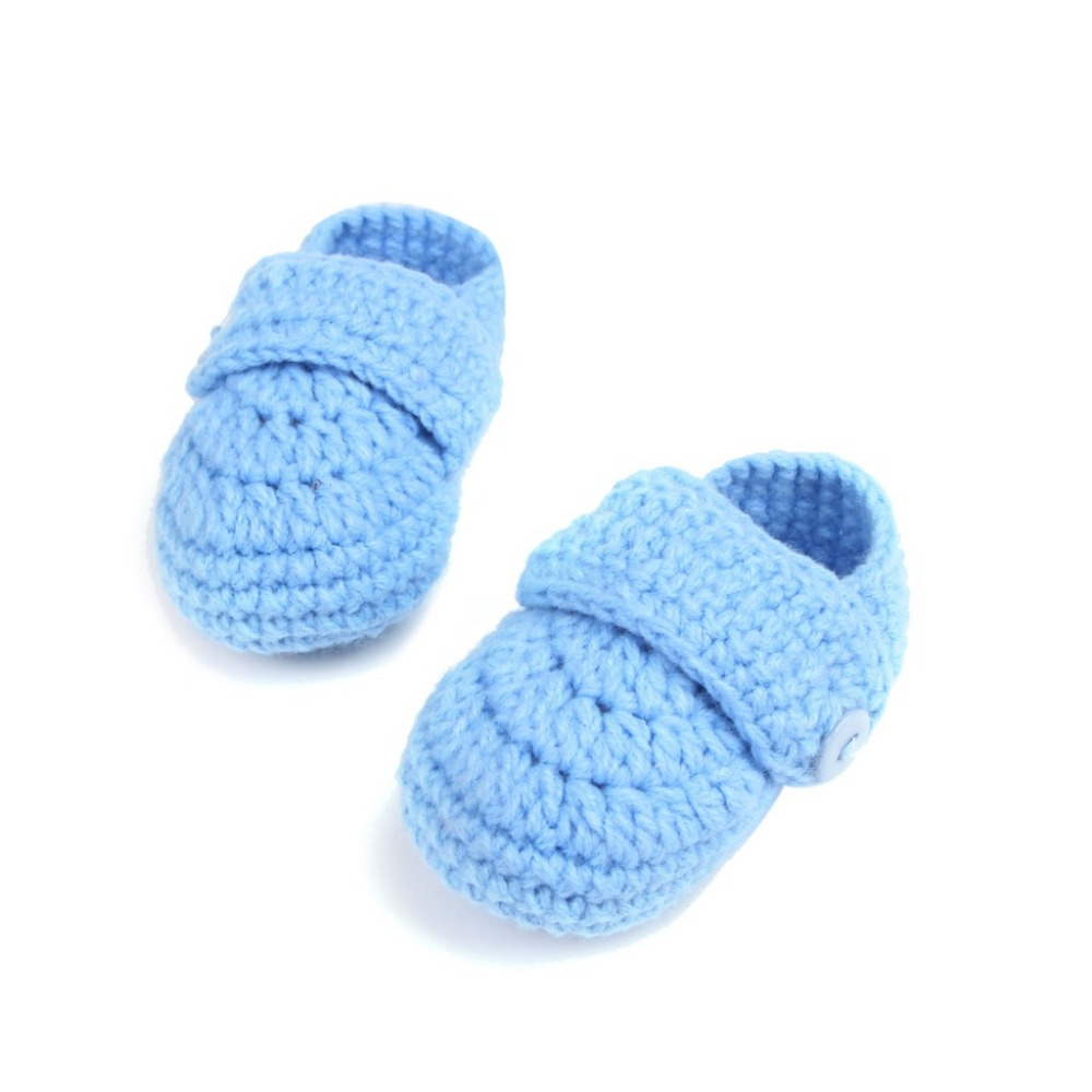 Baby shoes new baby blue gray shoes Manual knitting baby toddler soft bottom shoes Men and women baby shoes and socks 11cm