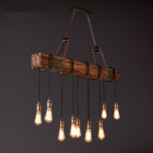 Wooden Industrial Vintage Pendant Lights Retro Loft Pendant Lamp E27*10 Creative Hanglamp Fixture For Home Lightings Luminaire цена 2017