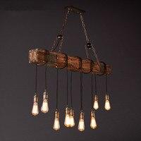 IWHD Wooden Industrial Vintage LED Pendant Lights Retro Loft Pendant Lamp E27*10 Creative RH Hanglamp Fixtures For Home Lighting