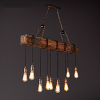IWHD Wooden Industrial Vintage LED Pendant Lights Retro Loft Pendant Lamp E27*10 Creative RH Hanglamp Fixtures For Home Lighting