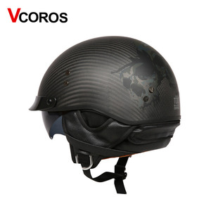 Image 2 - VCOROS Brand Retro Carbon Fiber Open Face Motorcycle Helmet Vintage Motorbike Helmet Cruise casco moto Scooter Man Helmet DOT