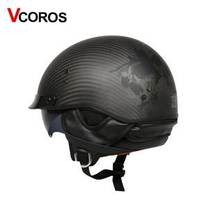 Image 2 - Vcoros capacete retrô de fibra de carbono, capacete retrô vintage para moto e scooter, para moto ponto ponto