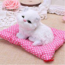 Simulação animal boneca gato carro com som vívido brinquedo de pelúcia ornamentos gatinho decoração interior casa brinquedos gatos