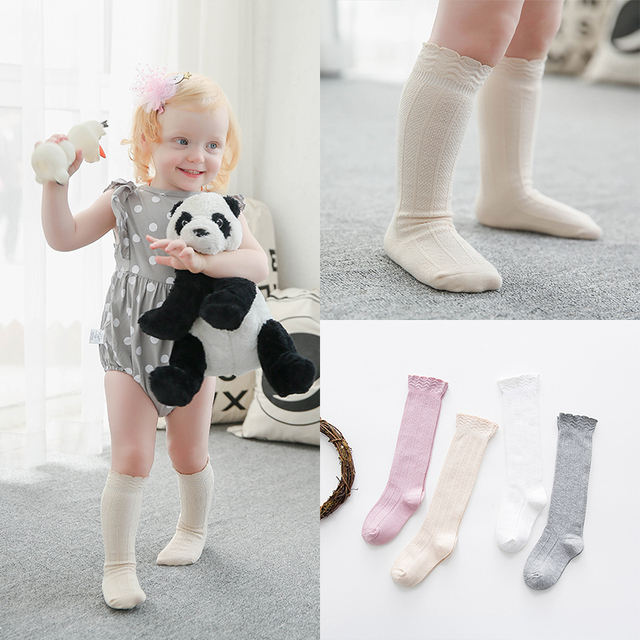 fb7b1ce8f65 0-3years Infant Boys Girls Knee high Socks Soft Seamless Anti-slip Baby  Cotton Solid Socks Spring Fall Leg Warmers G203