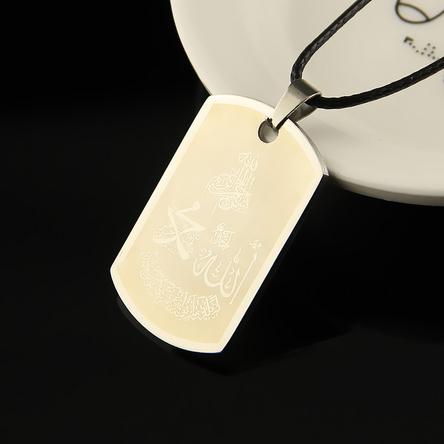 religious necklaces  Mens Military Style  Dog Tags Chain Mens muslim Pendant Necklace islamic Jewelry  for men wholesale