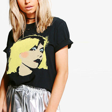 12575a34e Black short sleeve blondie band tees for women summer casual rock n roll t  shirts ladies oversized graphic print punk tops