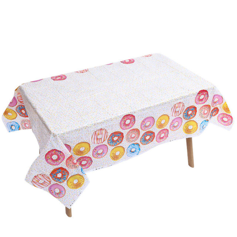 Donut Candy Party Disposable Tablecloth Sweet 1st Birthday Party Decorations Baby Shower Dessert Table Cloth Party Supplies