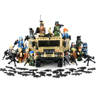 KaziทหารH Ummerรถที่มีหลายอาวุธโลกสงครามโจมตีทหารทหารอาวุธรุ่นสำเร็จรูปของเล่นเข้ากันได้Lepin