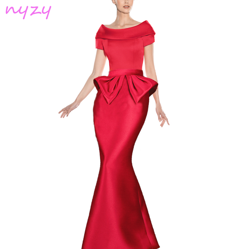 NYZY C32 Vintage Long   Cocktail     Dress   Red Satin Off Shoulder Mermaid Robe Longue 2019 Wedding Guest Party Evening Formal Gown