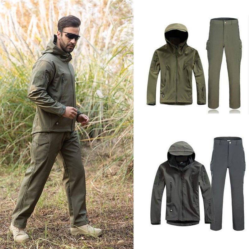 Imperméable à l'eau coupe-vent chasse en plein air Ghillie costume Camping doux Shell polaire veste + pantalon pour tactique randonnée vêtements de chasse