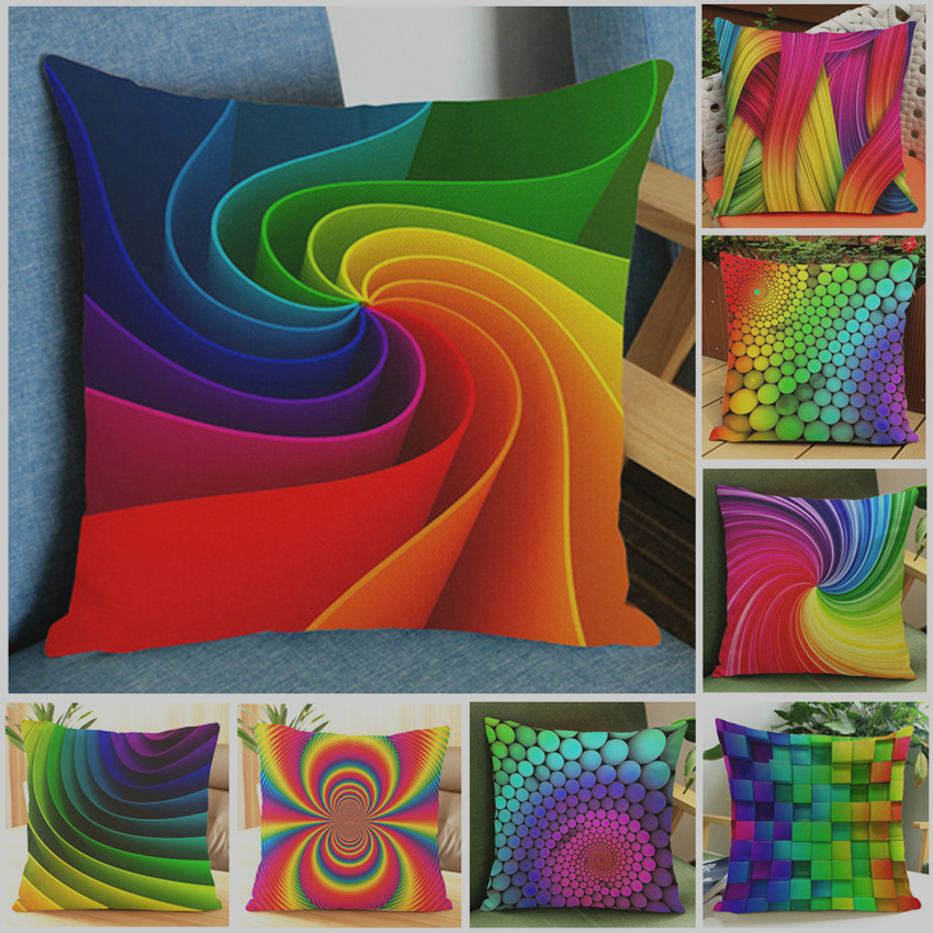 Us 3 69 26 Off Cushion Cover Colourful Abstract Rainbow Geometric Sofa Seat Luxury Home Decorative 45x45cm Square Throw Pillows Case Almofada In