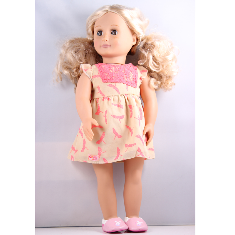 18 inch American Girl Doll Gold Hair Our Generation Doll With Dress And Shoes DHL UPS FEDEX EMS Express Free Shpping