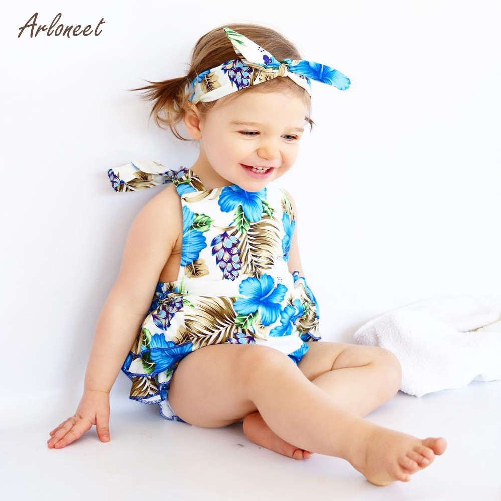 ARLONEET Infant Baby Romper Girls Floral Print Ruffles Jumpsuit Outfits Summer Clothes 2018 HOT Dropshipping _Apr30
