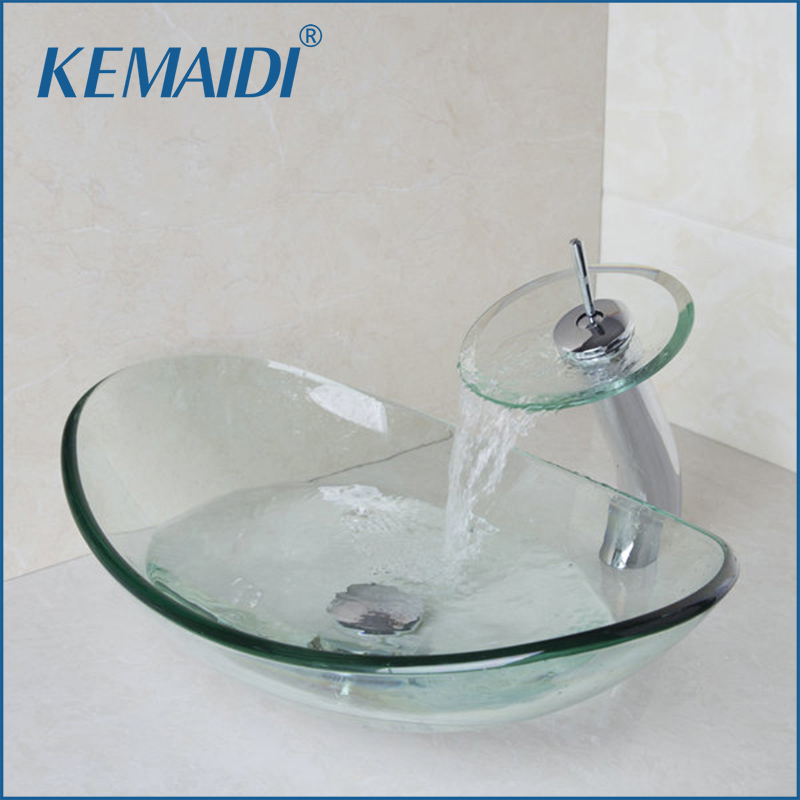 KEMAIDI Ingot Shape Round Bathroom Art Washbasin Oval Clear Tempered Glass Vessel Sink With Waterfall Chrome