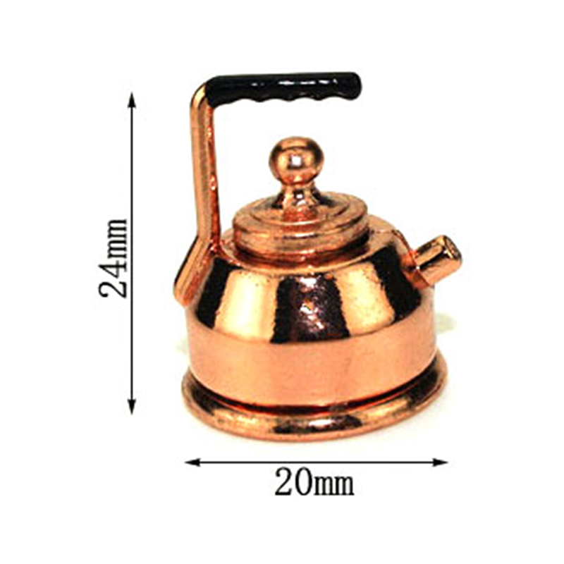 1/12 Dollhouse Miniature Accessories Mini Metal Kettle Simulation Teapot  Model Toys For Doll House Decoration