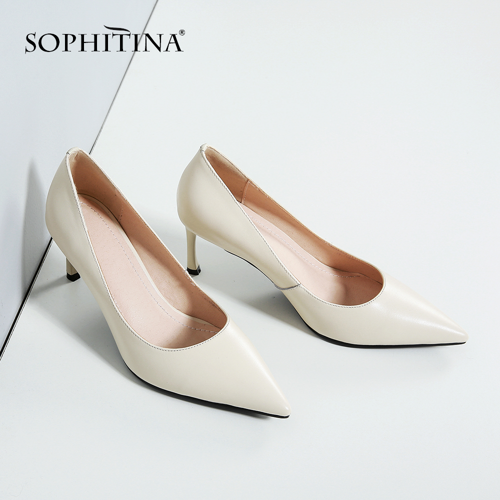 SOPHITINA 2019 New Arrival Basic Career Woman Pumps Classic Pointed Toe Thin Heel Genuine Leather Shoes for Office Lady MO19