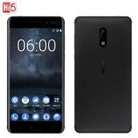 2017 разблокирована Nokia 6 LTE 4 г мобильного телефона Android 7 Qualcomm Octa Core 5,5 ''отпечатков пальцев 4 г Оперативная память 64 г Встроенная память 3000 мАч 16MP