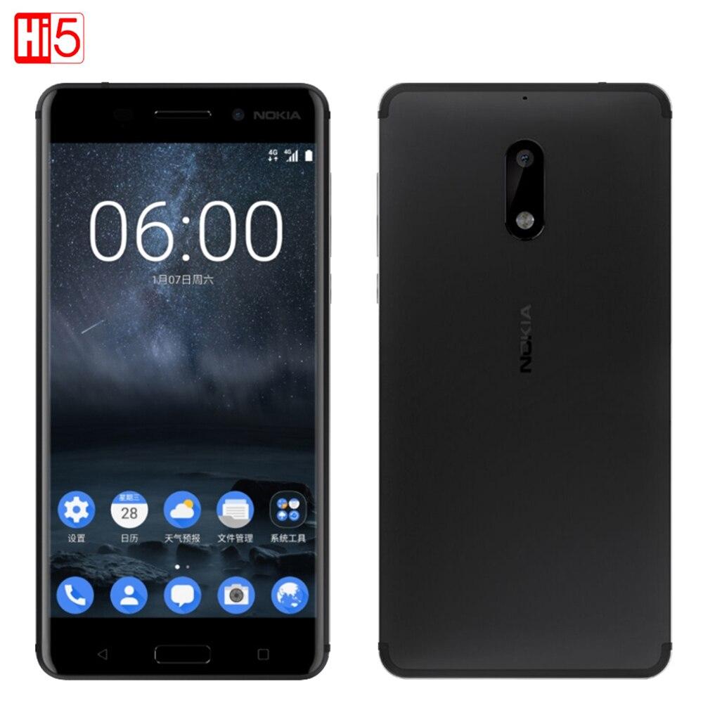 2017 Débloqué Nokia 6 LTE 4g Mobile Téléphone Android 7 Qualcomm Octa Core 5.5 ''D'empreintes Digitales 4g RAM 64g ROM 3000 mah 16MP Nokia6