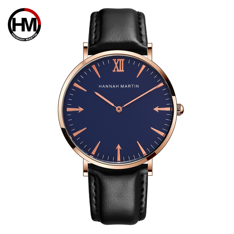 Hannah Martin Quartz Watch Mens Watches Top Brand Luxury Sport Watch Waterproof Ultra-thin Dial Simple Leather Relogio Masculino