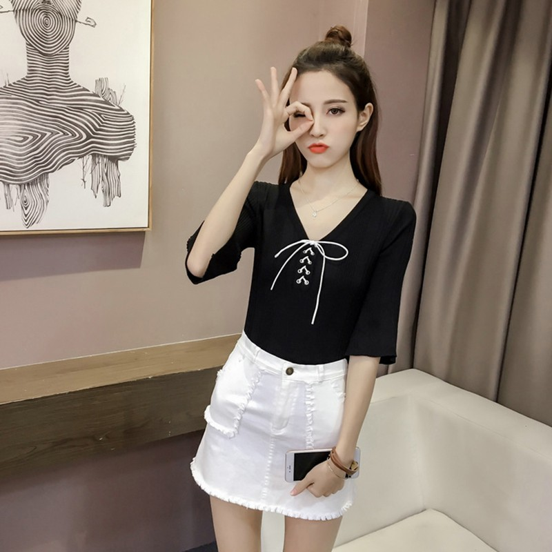 Summer Knit T Shirt Women's Half Sleeve Slim Korean Style Tee With Bow Trumpet Sleeve Top