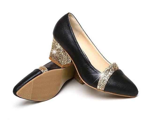 2018 Women Pumps Sweet Style Square High Heel sequins Pointed Toe Spring and Autumn Elegant Shallow Ladies Shoes Size 34-41 E058 5
