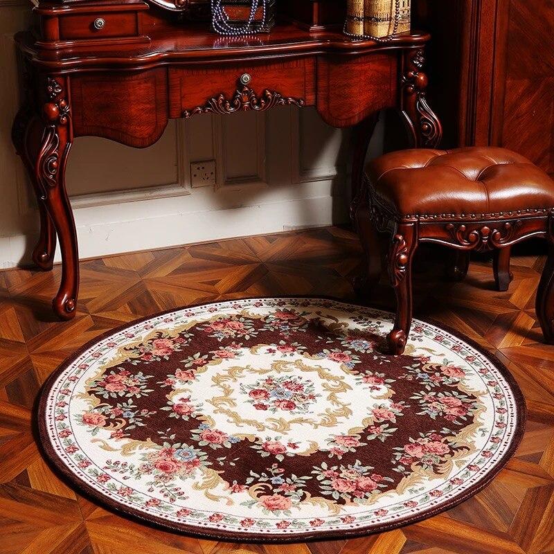 Honlaker européen Floral rond tapis salon Table basse décorative tapis étude chambre tapis 120x120 CM