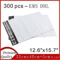 300 قطع dhl ems 32 سنتيمتر x 40 سنتيمتر جديد الأبيض بولي الارسال مجاني مغلفات بلاستيكية بريدية البريدية مغلف حقيبة sobres 12.6
