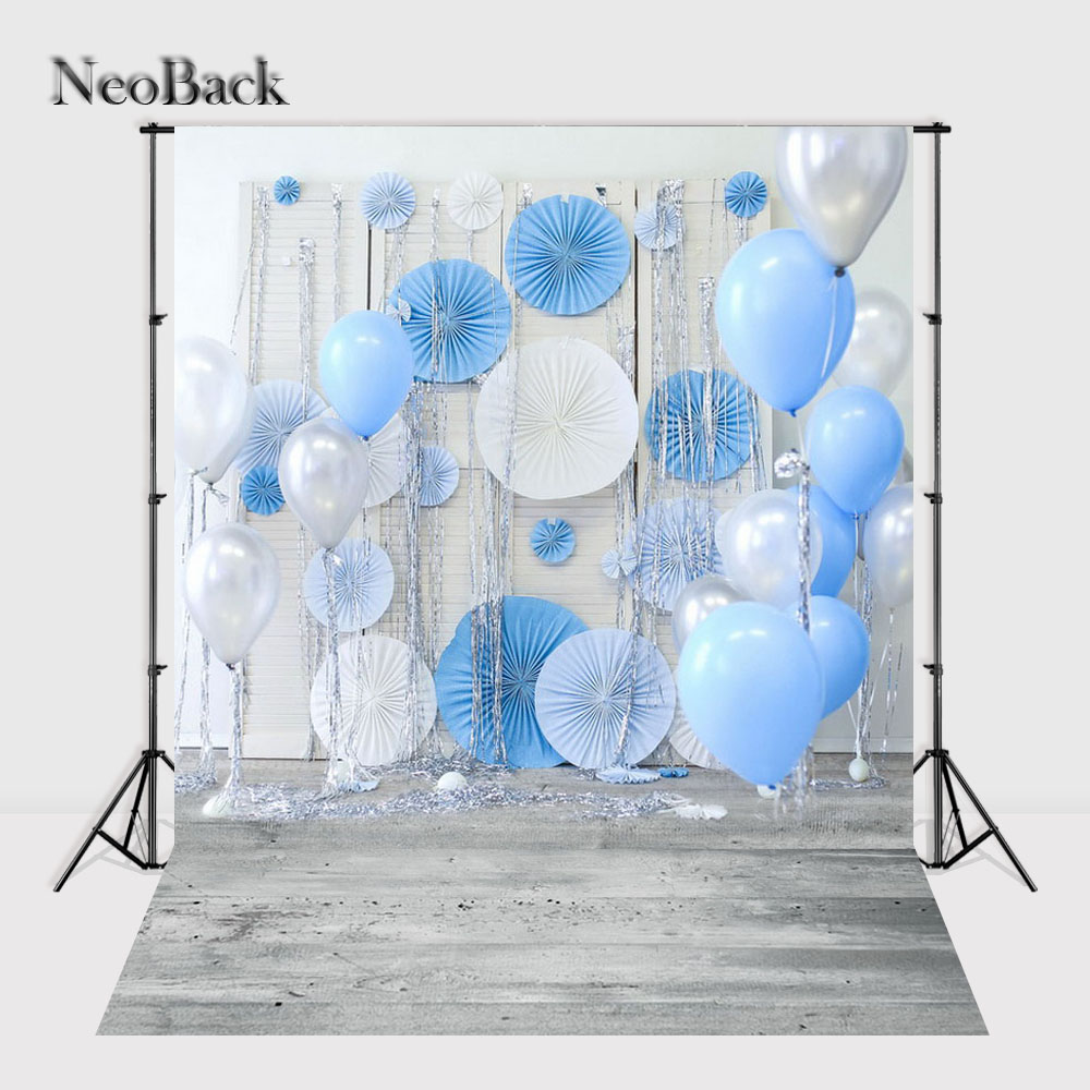 NeoBack Vinyl Cloth New Born Baby Photography Backdrop Blue Balloon Wedding Children Birthday Studio Photo backgrounds P1604