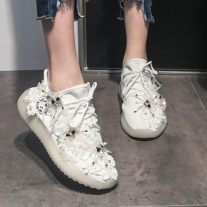 Stylesowner Flower Mesh Elastic Casual Shoes Platform Crystal Women Elegant Rhinestone Sneakers Fashion Embroider Pearl Sneakers