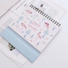 2019 Calendar Lovely Funny fresh flamingos Desk Calendar DIY Cartoon Table Calendars Daily Schedule Planner 20*23.5cm