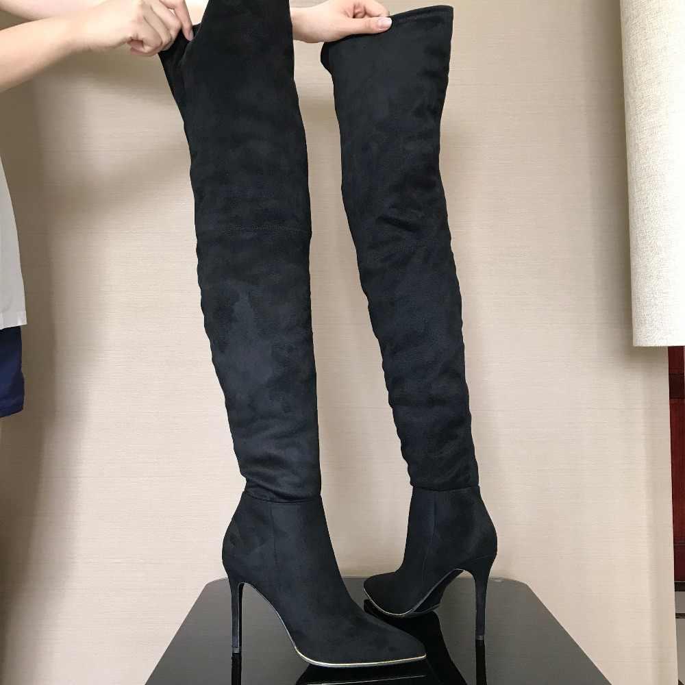 """10.5 ס""""מ עקבים נשים נעלי שמלה מעל הברך חורף מגפי אישה פו זמש עור אתחול נשים ירך גבוהה מגפי גבירותיי שלג נעל"""