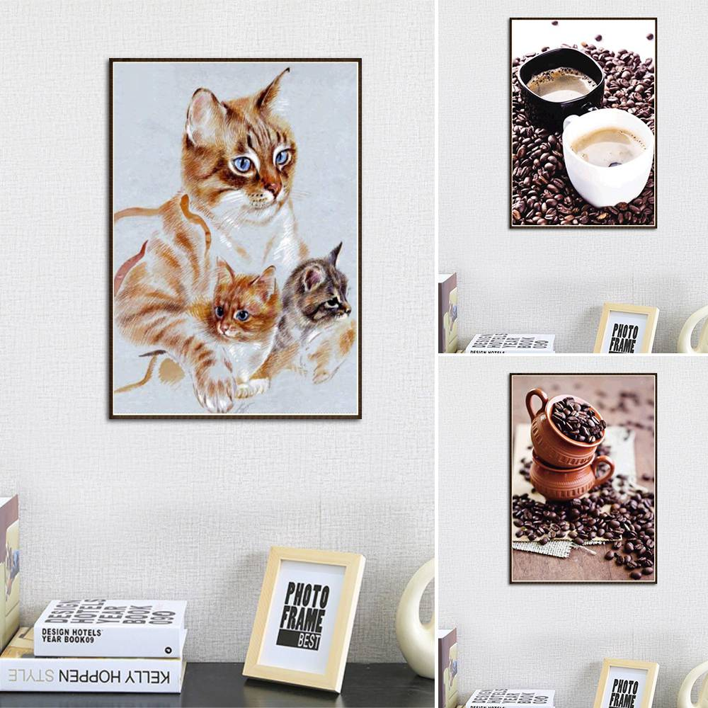 DIY Full Drill Diamond Painting Cat Embroidery Cross Crafts Stitch Kit Home Decor
