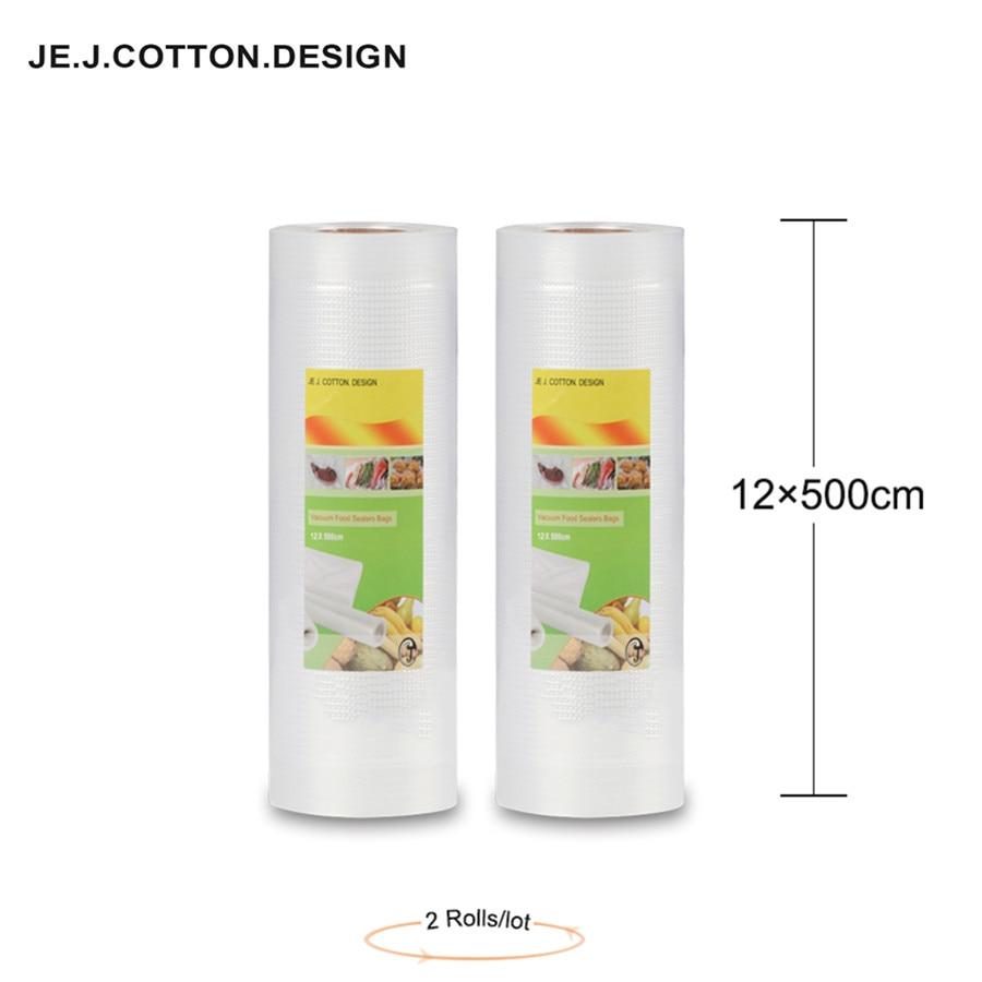 2 rulle 12 * 500 CM vakuumpåsar för matlagring Kök Håll färska vakuumpackare Matpåsar Generiska 12 * 500 cm för förpackningsmaskin