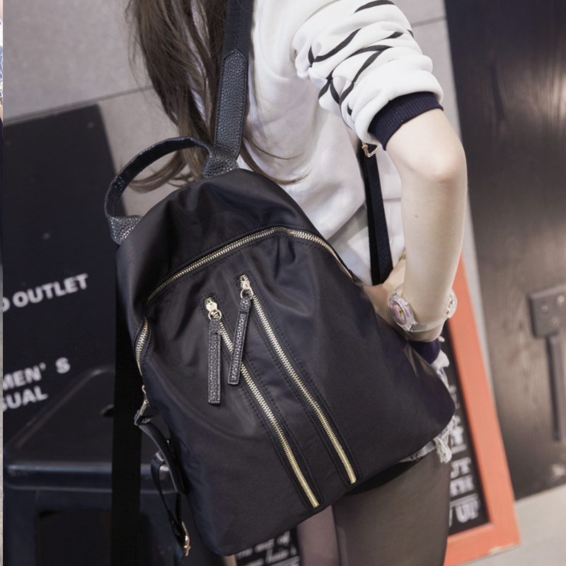Shoulder bag female canvas leisure simple Oxford cloth college wind students tide backpack zipper Japan and South Korea Mummy ba