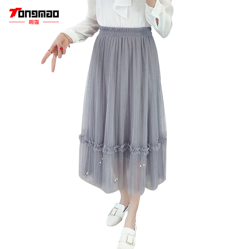 TONGMAO 2018 Spring and Summer New Women Gauze Beaded Lace Skirt Pleated Elastic Waist High waist A word in the Long Skirt