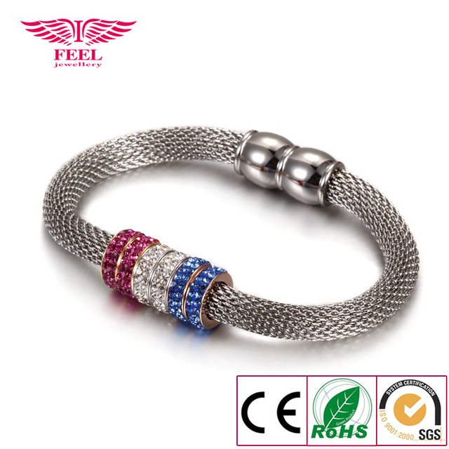 Round Crystal Cuff Bracelet Magnet Clasp Female Snake Chain Bangle Wholesale and Retail Fashion Jewelry For Women