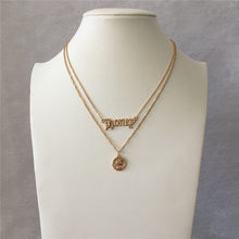 TRENDY GOLD COLOR GOTHIC HONEY LOGO COIN PENDANT LAYERED NECKLACE FOR WOMEN GIRL(China)