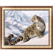 DIY 5D Diamond Embroidery Cross Stitch Snow Leopard Animal Painting Home Decor 40cm*32cm