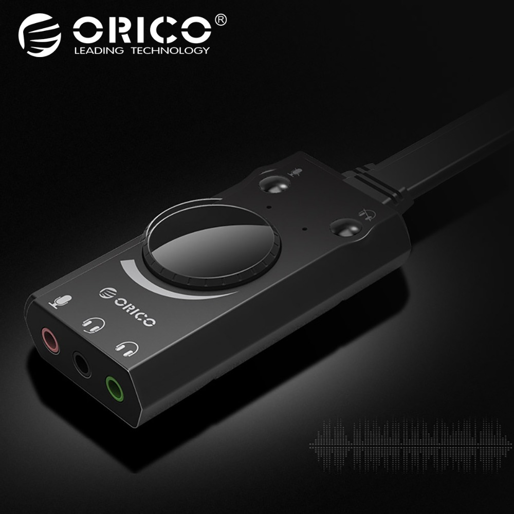 ORICO External USB Sound Card Mic Adapter Speaker 3.5mm Jack Stereo Audio Cable Headset Volume Adjustment Free Drive for PC