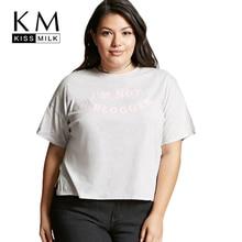 Kissmilk Plus Size Fashion Women Clothing Casual Basic T-shirt Letter Print Solid Tops Split Big Size Short T-shirt 4XL 5XL 7XL недорого