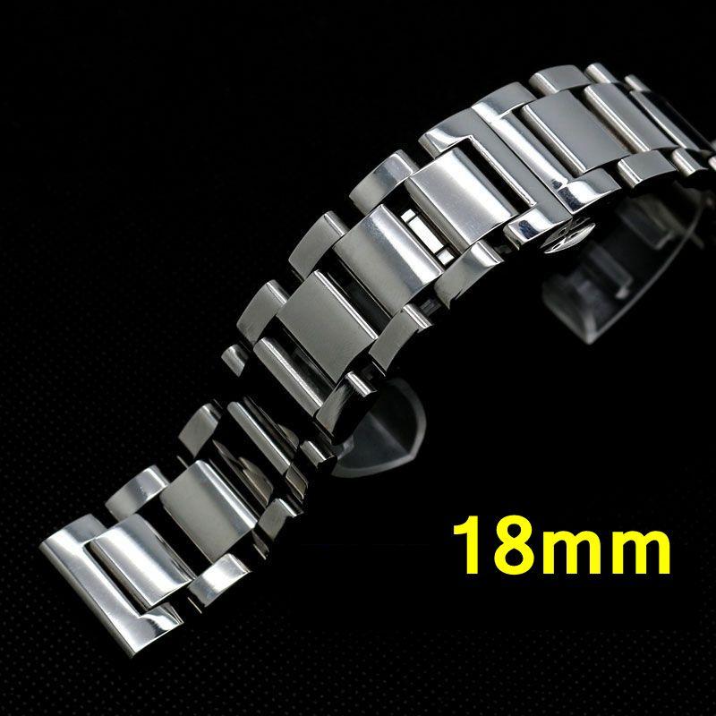18mm Stainless Steel Band Strap Silver Bracelet Solid Links Deployment buckle push Button For Women Men Wrist Watch GD014518 стоимость